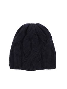 Kangra Cashmere - Blue wool braided beanie