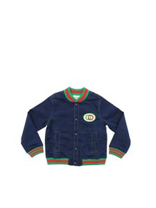 Gucci - Bomber in denim blu con patch