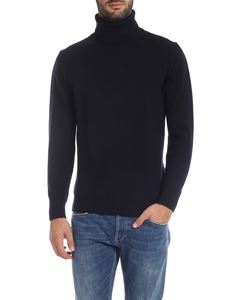 Kangra Cashmere - Knitted fabric turtleneck in blue