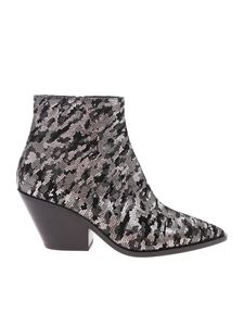 Casadei - Pointed Western boots in silver and black