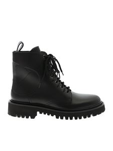 Valentino - Combat black ankle boots with VLOGO