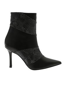 Marc Ellis - Black ankle boots with reptile-effect details