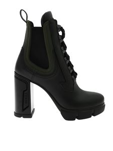 Prada - Ankle boots in black leather with logo