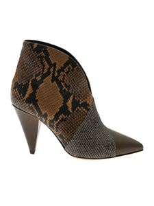 Isabel Marant - Ankle boots in green leather with reptile details