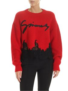 Givenchy - Pullover crop rosso con logo signature