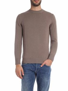 Kangra Cashmere - Pullover in walnut-colored woven fabric