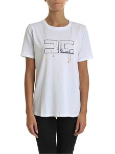 Elisabetta Franchi - White T-shirt with logo embroidery