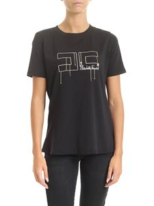 Elisabetta Franchi - Black T-shirt with logo embroidery