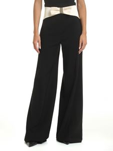 Elisabetta Franchi - Black Palazzo trousers with bow