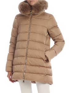 Herno - Beige down jacket with fur