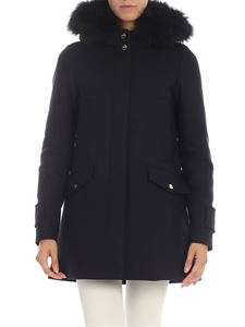 Herno - Black coat with fur insert