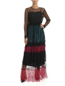 Twin-Set - Long dress in black lace