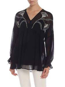 Twin-Set - Black blouse with jewel embroidery