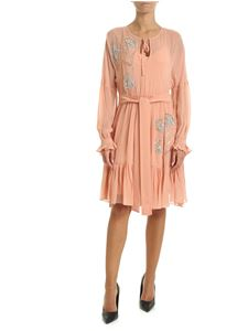 Twin-Set - Antique pink dress with jewel embroidery