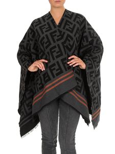 Fendi - FF poncho in black