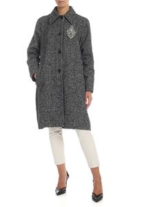 Dondup - Houndstooth single-breasted coat with jewel patch