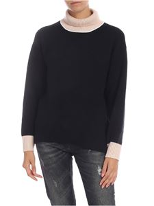 Dondup - Black crew-neck pullover with contrasting profiles
