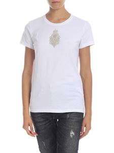 Dondup - White T-shirt with jewel patch