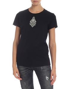 Dondup - Black T-shirt with jewel patch