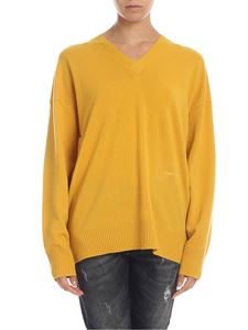 Calvin Klein - Cashmere pullover with logo in mustard color