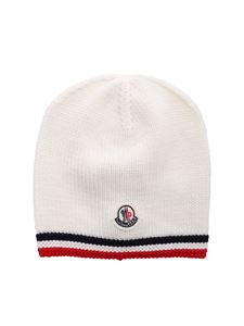 Moncler Jr - Virgin wool beanie in ivory color