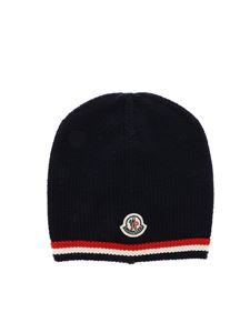 Moncler Jr - Virgin wool beanie in blue
