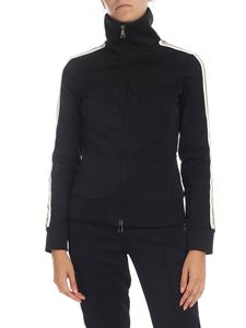 Moncler - Black sweatshirt with white and golden bands