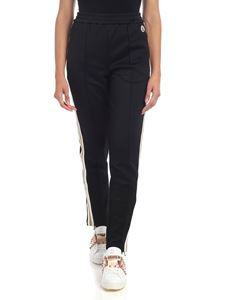 Moncler - Black trousers with white and golden bands