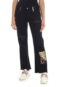 Alanui - Black denim trousers with silk patches
