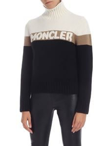 Moncler - Turtleneck pullover in cream color and black