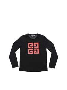 Givenchy - T-shirt nera con logo in paillettes rosso