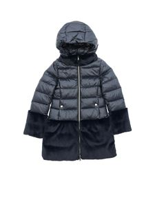 Herno - Midnight blue down jacket with eco fur inserts
