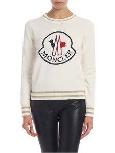 Moncler - Crewneck pullover with logo embroidery in cream color