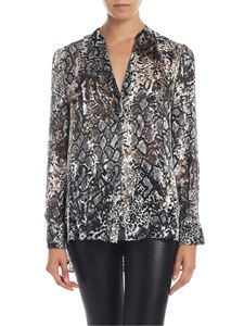Alice + Olivia - Reptile print blouse in gray and black