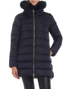 Herno - Blue down jacket with fur collar