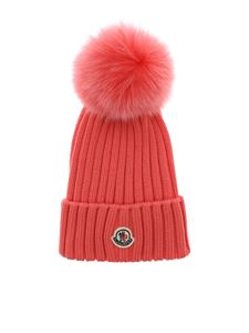 Moncler - Salmon pink wool beanie with pom pon