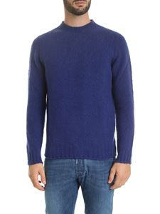 Fedeli - Pullover with ribbed edges in bluette