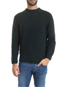 Fedeli - Pullover with ribbed edges in glass green