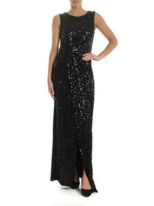 Parosh - Sleeveless dress in black jersey with sequins