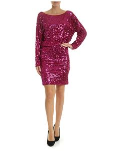 Parosh - Jersey dress with fuchsia sequins in red