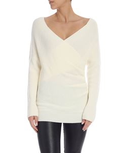 Parosh - Pullover with curled detail in cream color