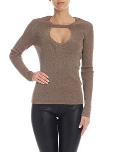Parosh - Lamé wool sweater in brown