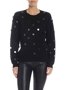 Parosh - Black pullover with maxi sequins