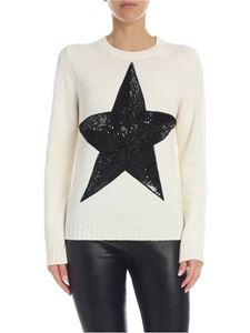 Parosh - Pullover with sequined star in cream color