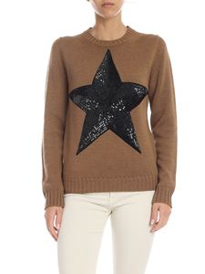 Parosh - Brown pullover with sequin star