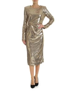 Parosh - Dress in golden micro-sequins with knot