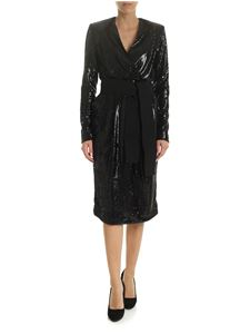 Parosh - Black micro-sequined dress with sash