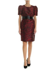 Parosh - Jacquard dress in red and black with patent leather belt