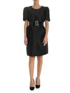 Parosh - Black dress with patent leather belt