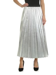 Parosh - Pleated skirt in silver with laminated effect